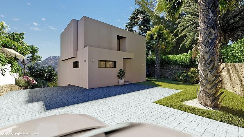 Acceso entrada villa estilo moderno en Moraira.