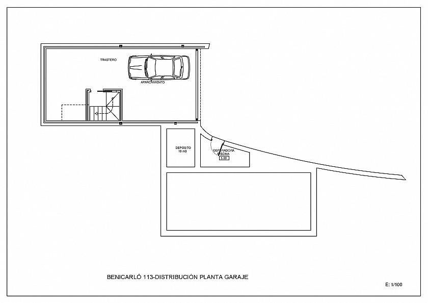 Plano garaje villa estilo moderno en Moraira