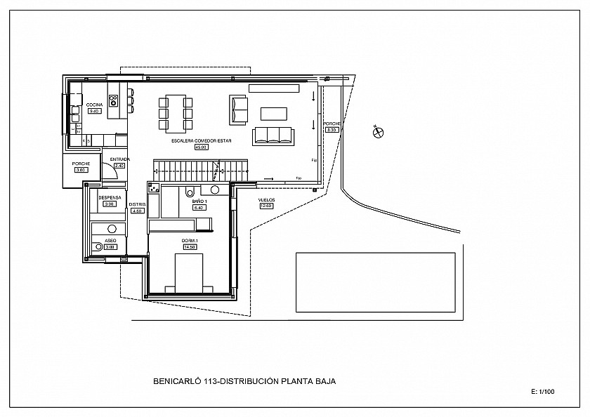 Plano planta baja villa estilo moderno en Moraira.
