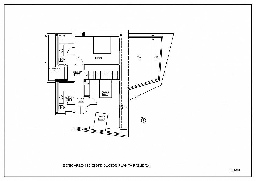 Plano planta primera proyecto en Moraira