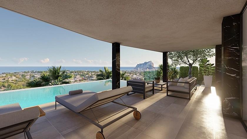 Terraza con piscina y vistas al mar villa de lujo.
