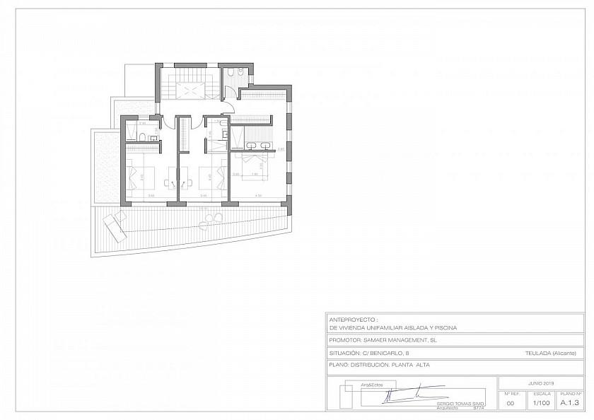 Plano primera planta en Moraira