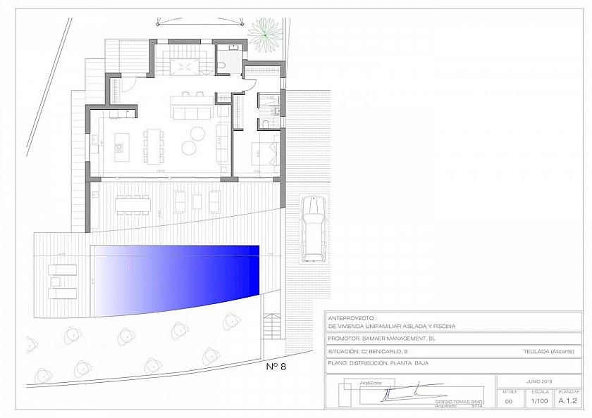 Plano planta baja villa de lujo en Moraira