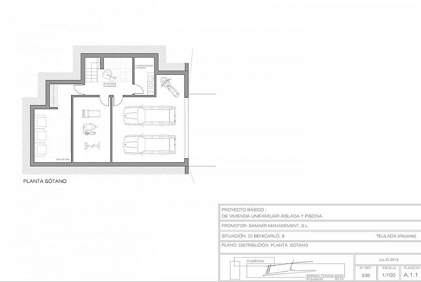 Plano semisótnao villa en Moraira