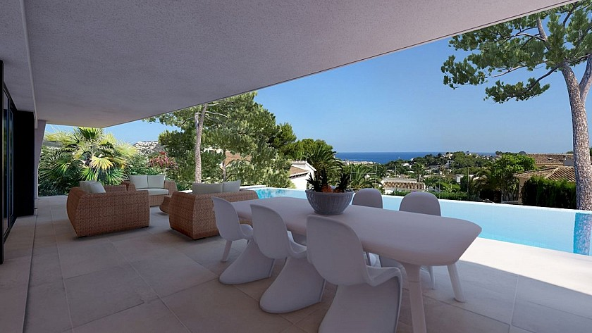 Terraza exterior con vistas al mar y piscina